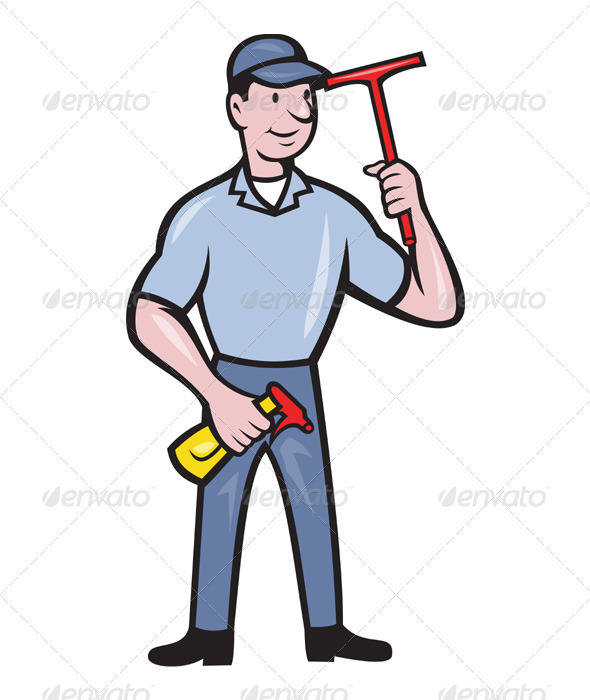 Window Cleaner With Squeegee  - People Characters
