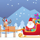 Santa and Christmas Reindeer on the Snow - GraphicRiver Item for Sale