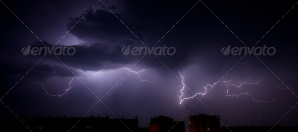 Bright branched lightning - Stock Photo - Images