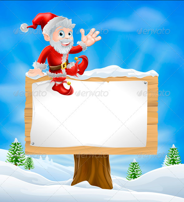 Cartoon Santa Christmas Sign - Christmas Seasons/Holidays
