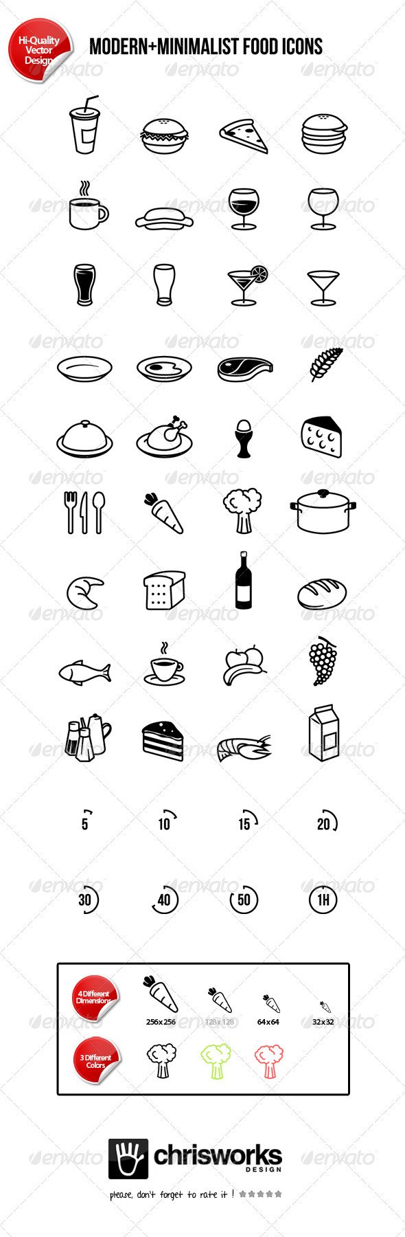 Modern-Minimalist Food Icons - Food Objects