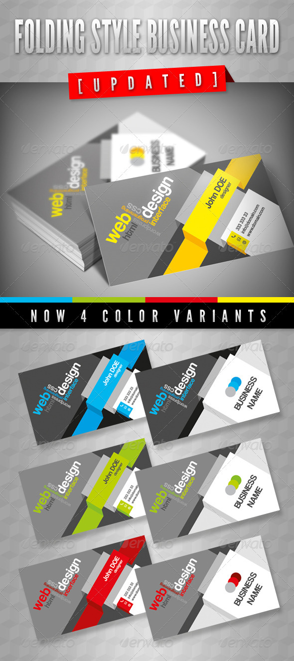 Folding Style Business Card - Business Cards Print Templates