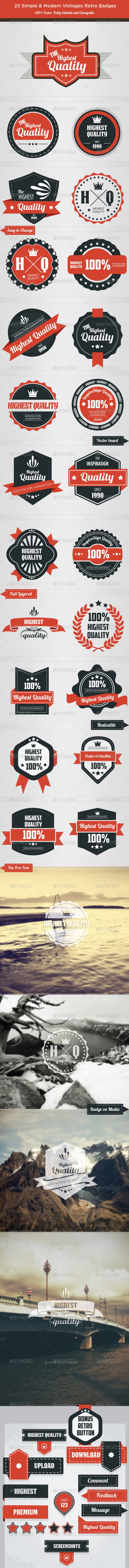 Highest Quality - Retro Badges - Web Elements Vectors