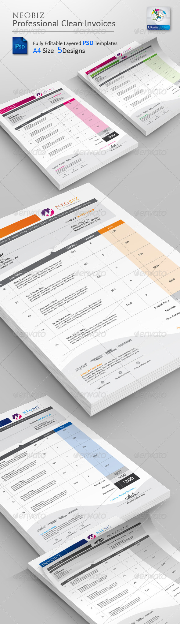 NeoBiz Clean Invoice PSD Templates - Proposals & Invoices Stationery