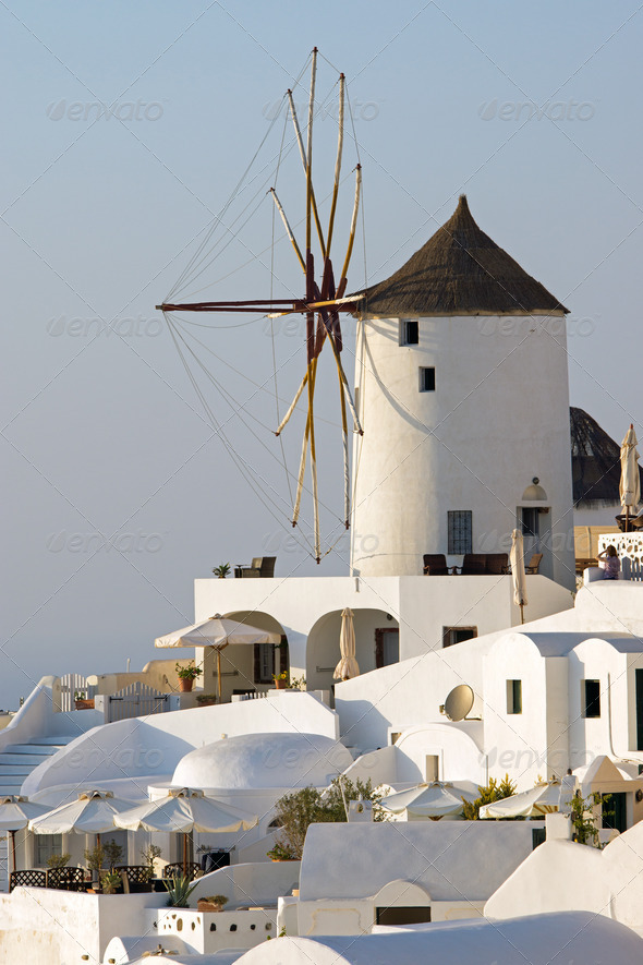 Oias famous windmill - Stock Photo - Images