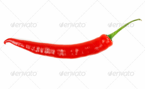 Hot chili peppers isolated on white - Stock Photo - Images