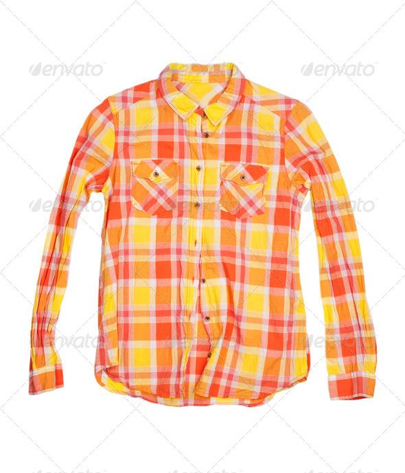 orange checkered shirt isolated on white background - Stock Photo - Images