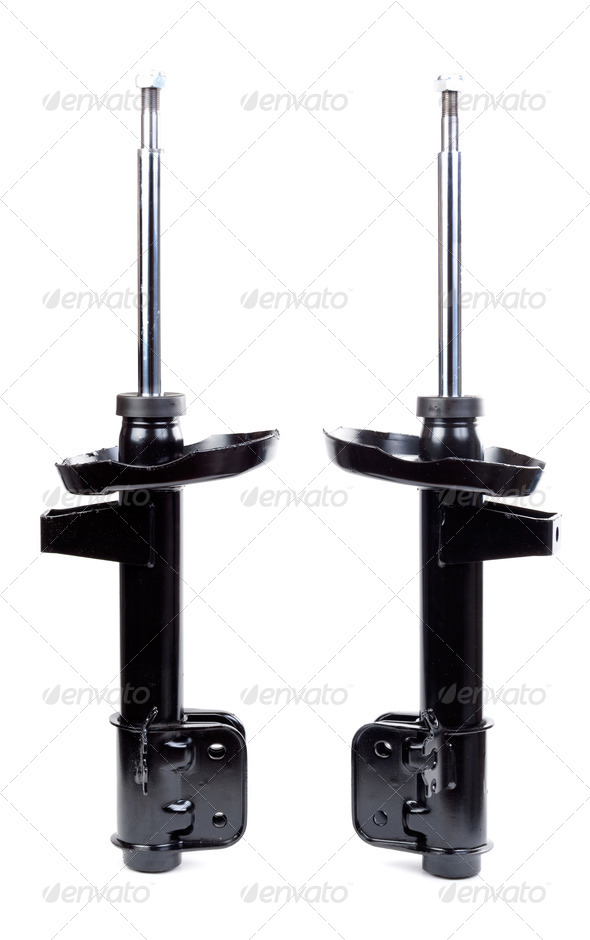 Two black shock absorber - Stock Photo - Images