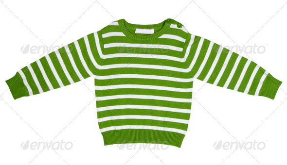 Green striped sweater for children - Stock Photo - Images