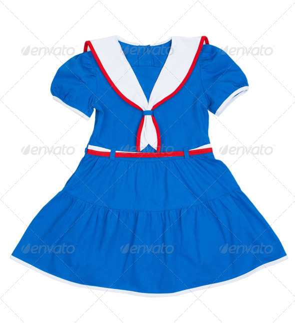 The dress for the girl with a sea motif - Stock Photo - Images