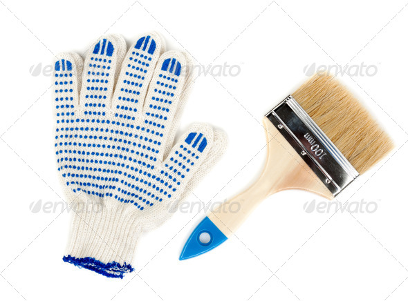 two hands using a paint brushes - Stock Photo - Images