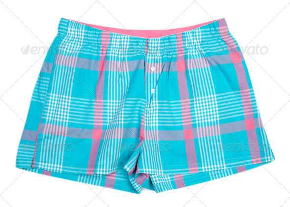 The blue plaid shorts - Stock Photo - Images