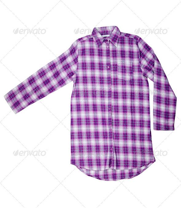Purple plaid shirt - Stock Photo - Images