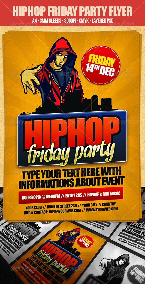 Hip Hop Friday Flyer Template By Dodimir | Graphicriver