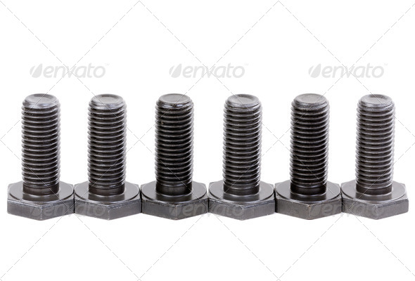 Bolts coated with protective varnish - Stock Photo - Images