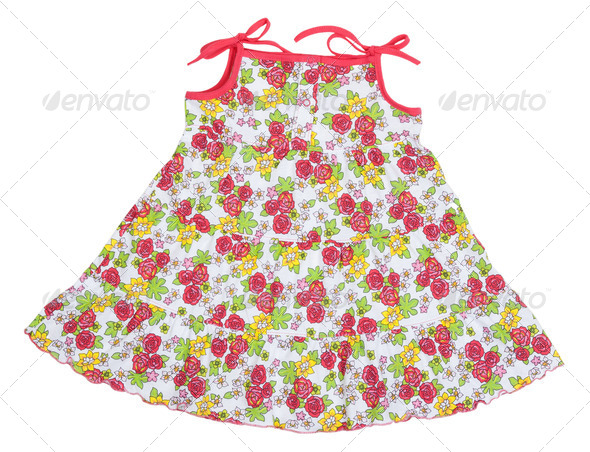 colored rose children's summer dress - Stock Photo - Images