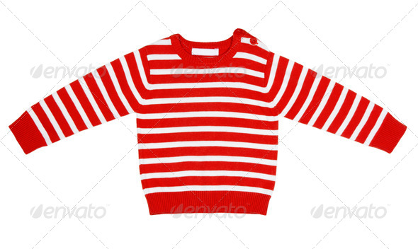 orange striped sweater for children - Stock Photo - Images