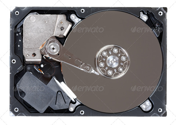 Hard disk drive HDD isolated on white background - Stock Photo - Images