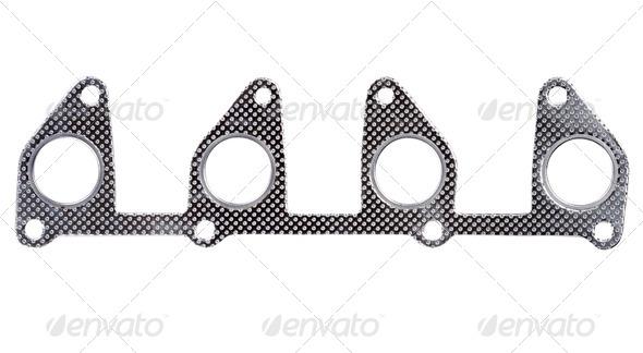 metallic automotive exhaust manifold gasket - Stock Photo - Images
