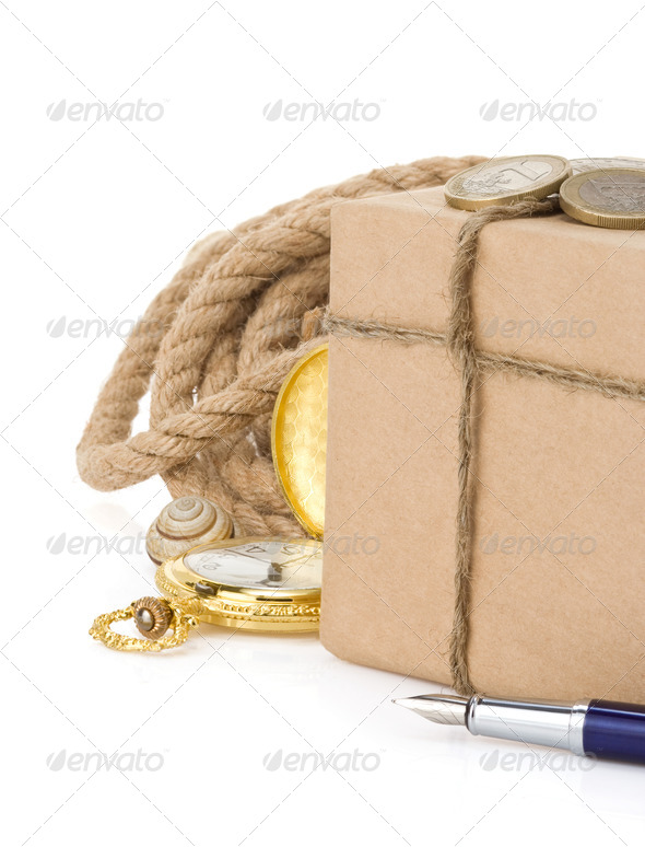 parcel wrapped packaged box - Stock Photo - Images