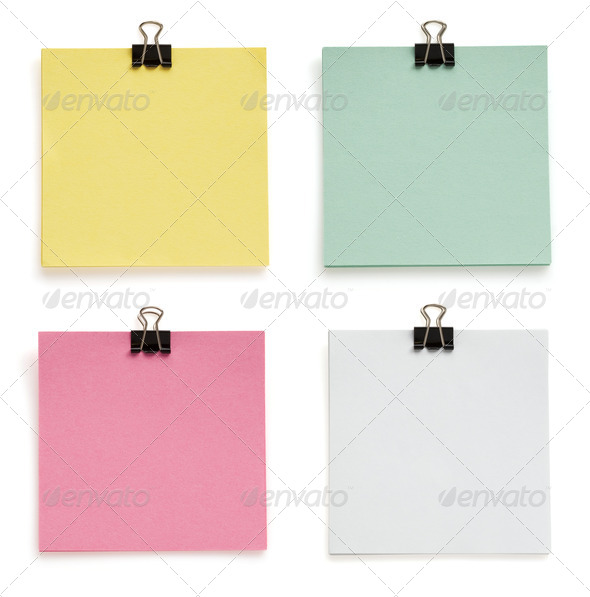 note paper and clip on white - Stock Photo - Images