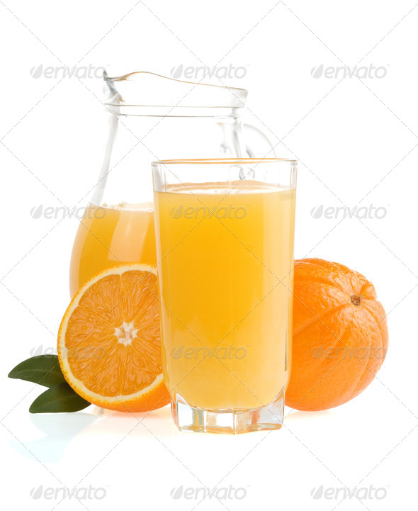 orange fruit and juice - Stock Photo - Images