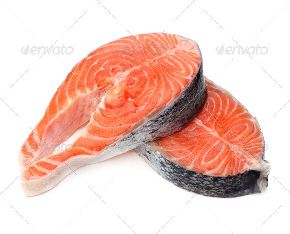 raw fillet of fresh salmon fish - Stock Photo - Images