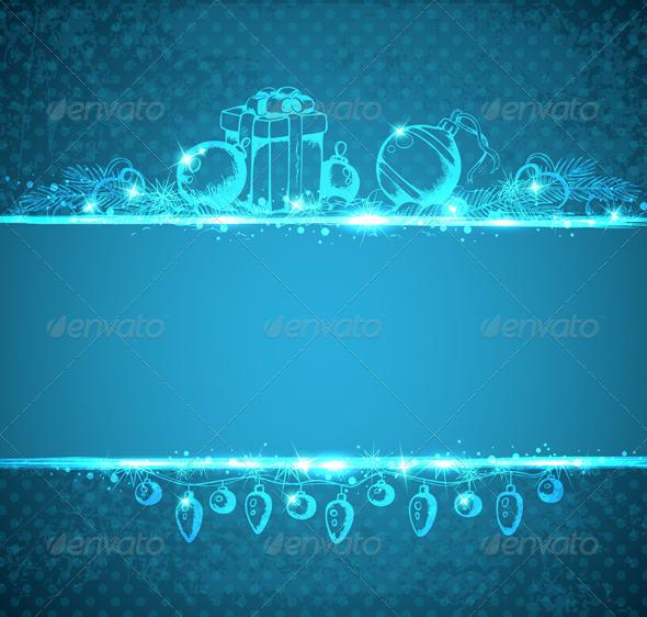 Vintage Blue Christmas Background - Christmas Seasons/Holidays