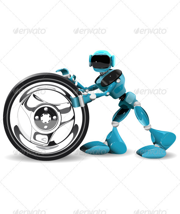 Robot and Wheel - People Characters