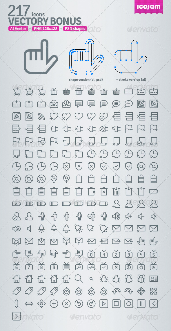 217 AI and PSD Bonus Outline Icons - Web Icons
