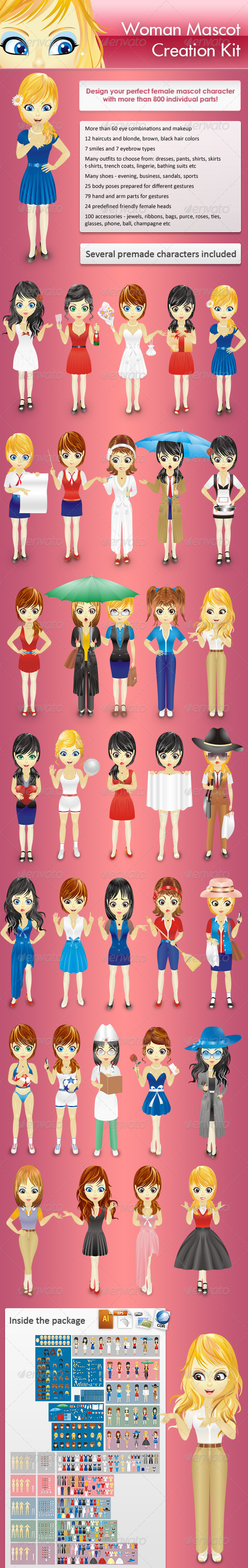 Woman Mascot Mega Creation Kit - People Characters