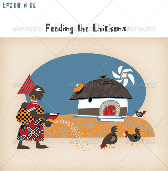 African Hut with Woman, Chickens & Sunshine - Travel Conceptual