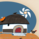 African Hut with Woman, Chickens & Sunshine - GraphicRiver Item for Sale