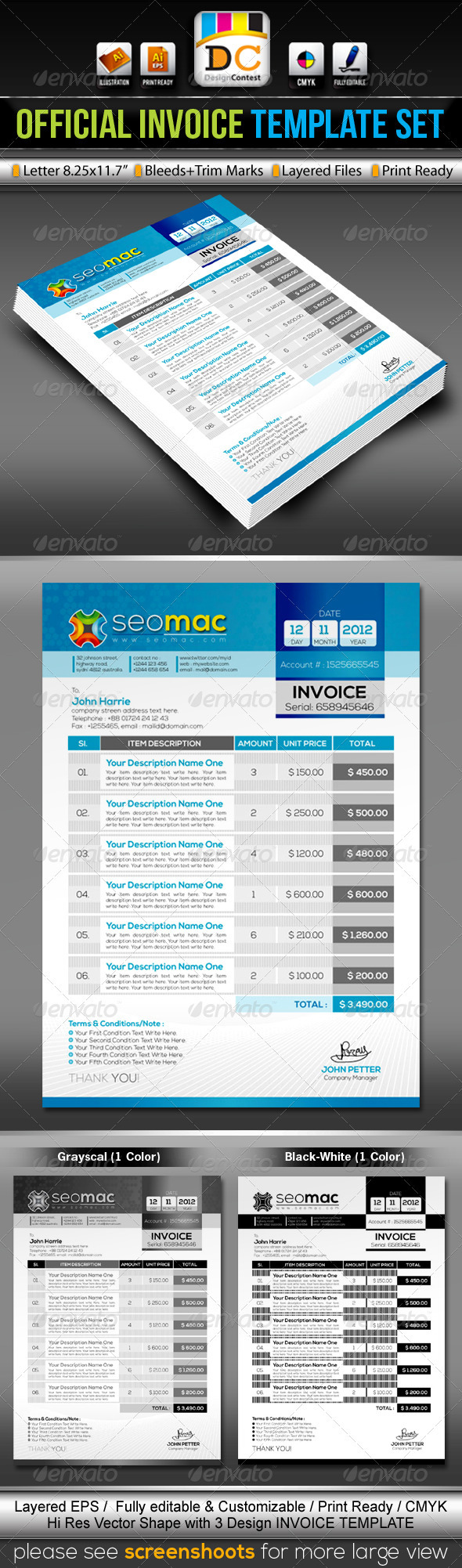 SeoMac_Official Invoice/Cash Memo Template Set - Proposals & Invoices Stationery
