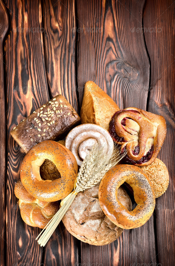 Bakery products on wooden boards - Stock Photo - Images