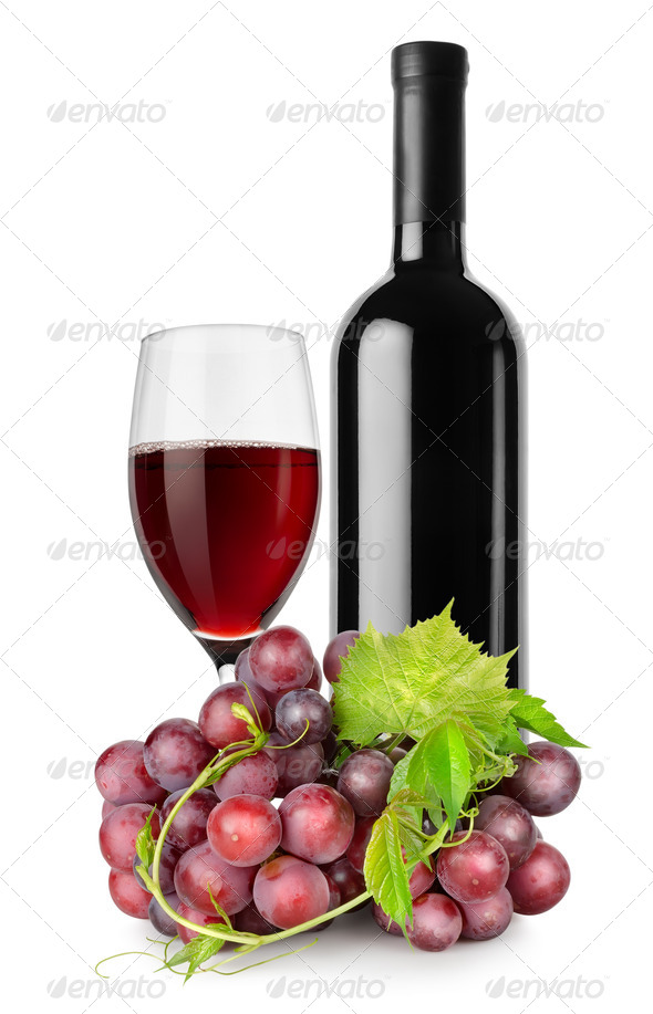 Bottle of red wine, wineglass and grapes - Stock Photo - Images