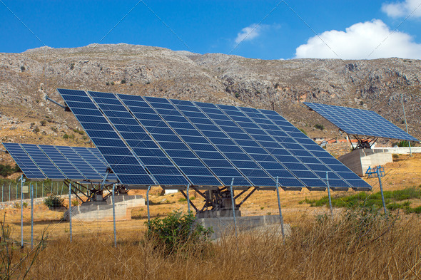 Solar panels on Crete island - Stock Photo - Images