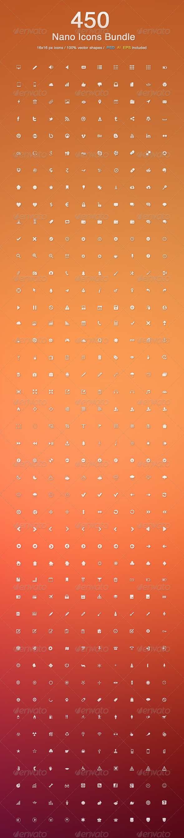 450 Nano Icons Bundle - Web Icons