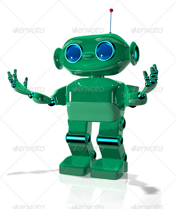 Green Robot 2 - Technology 3D Renders