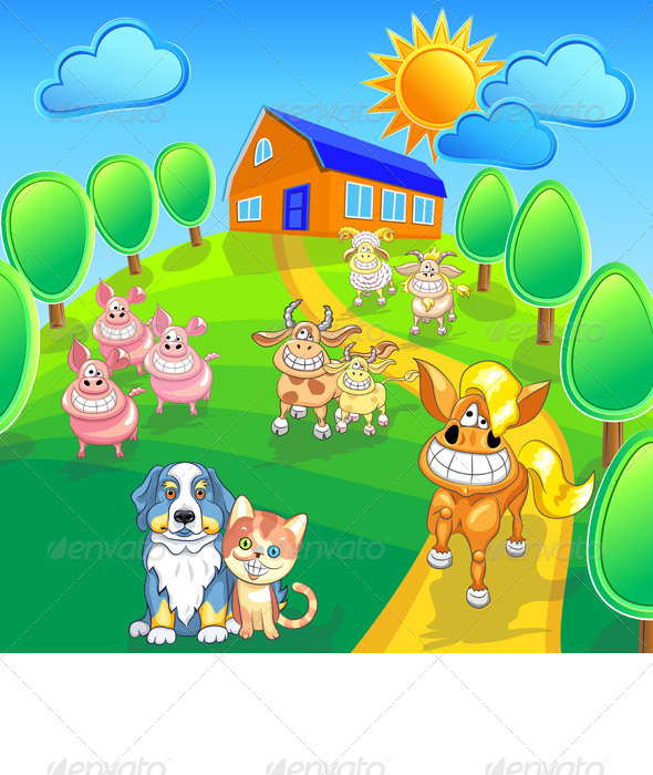 Vector Set Funny Cartoon Farm Animals - Animals Characters