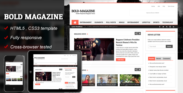 Bold Magazine - HTML5 Responsive Template