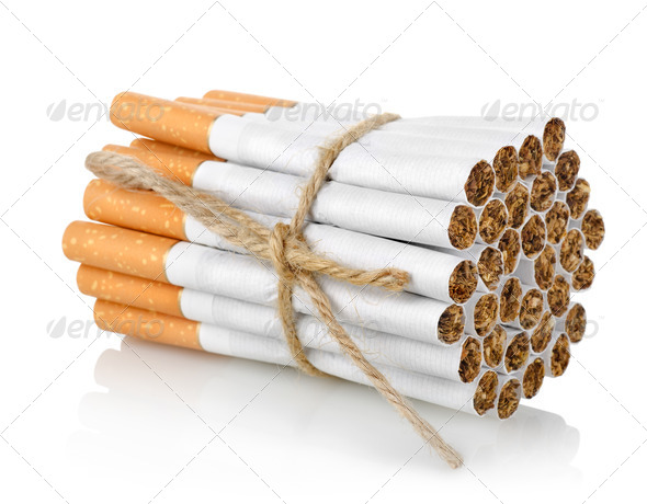 Bunch of cigarettes isolated - Stock Photo - Images