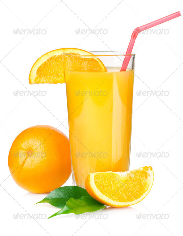 Juice with red tube - Stock Photo - Images