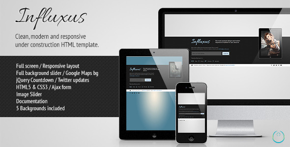 Influxus - Responsive Under Construction Template - Under Construction Specialty Pages