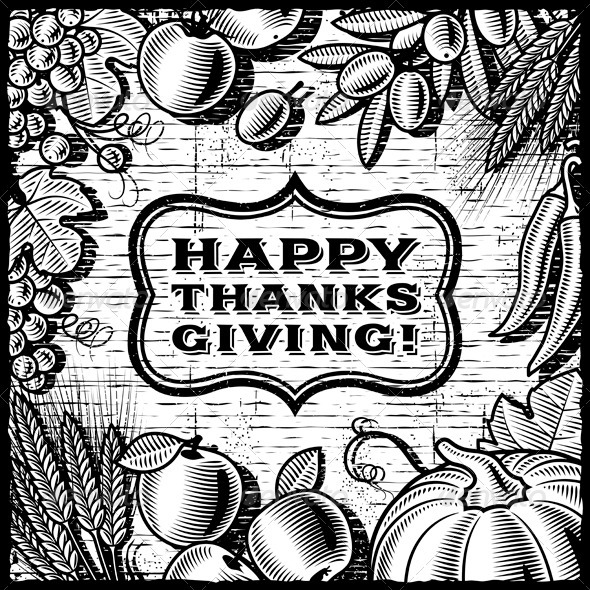 Thanksgiving Retro Card Black And White - Seasons/Holidays Conceptual
