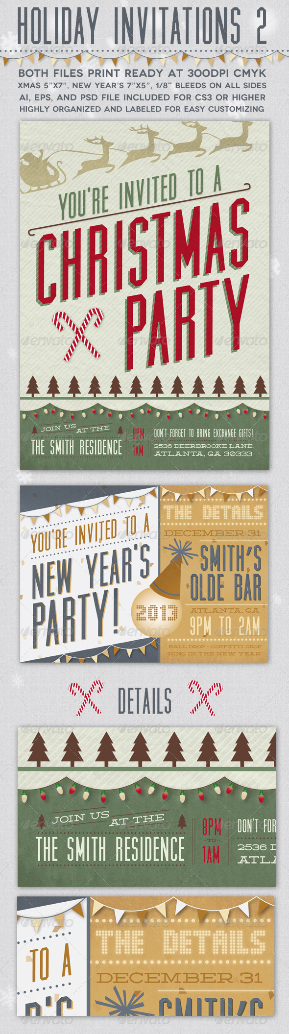 Holiday Invitations 2 - Invitations Cards & Invites