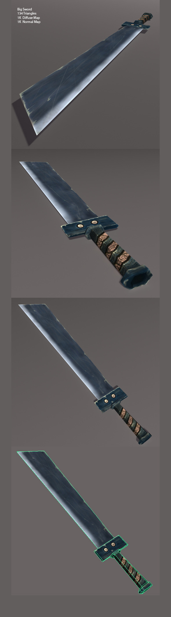 Low Poly Big Sword - 3DOcean Item for Sale