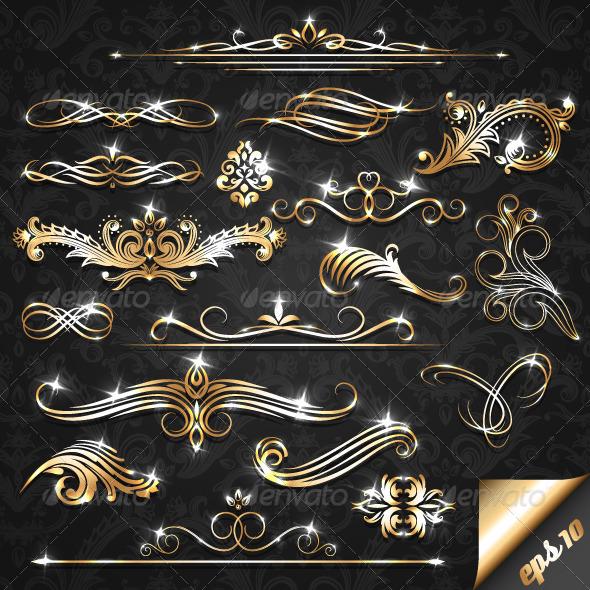 Golden Ornate Elements - Flourishes / Swirls Decorative