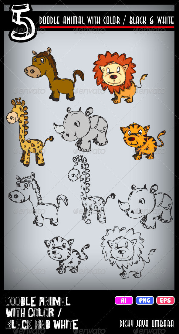 Doodle Animal One - Animals Characters
