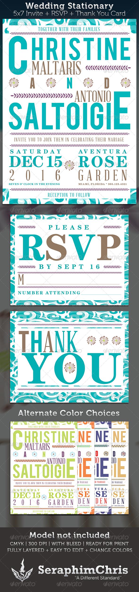 Wedding Invite Stationary Template - Cards & Invites Print Templates